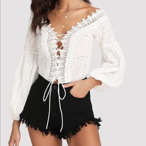 Lace Trim Eyelet Embroidered Bodysuit